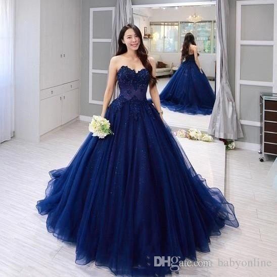 Compre 2020 Azul Marino Cariño Vestido De Fiesta Quinceañera Vestido De Encaje Apliques Vestidos De Fiesta De Noche Formal Formal 15 Vestidos De
