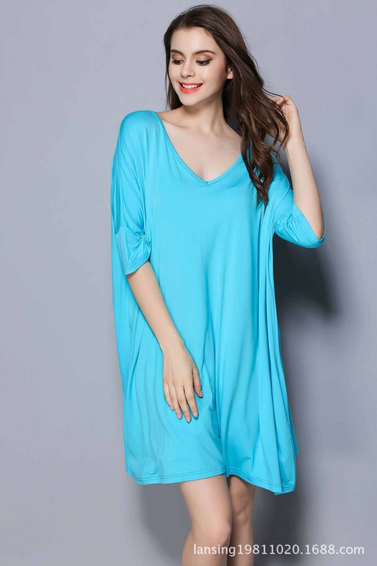 Nightdress spring and summer new medium and long T-shirt medium sleeve large size nightdress modal Pajama has fat plus size women good blue