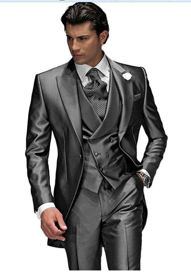 البدلات الرسمية رمادي 3 أجزاء الرجال الدعاوى ذروته طوق يتأهل مساء حفلة موسيقية البدلة الزفاف العريس البدلات الرسمية الرجال العرف (jakcet + سترة + سروال + التعادل)