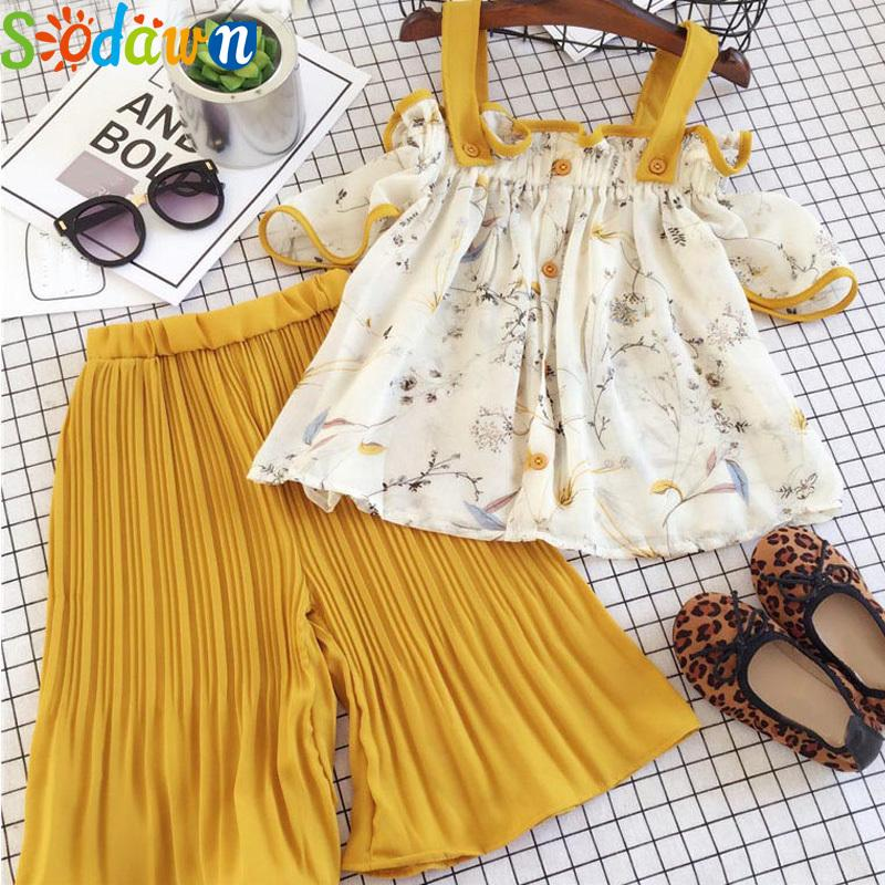 Sodawn Flower Girl Clothing Sets 2pcs Sling Chiffon Tops+Pants Loose Kids Costume Outfits Chidlren Clothing Outfits Suit T200707