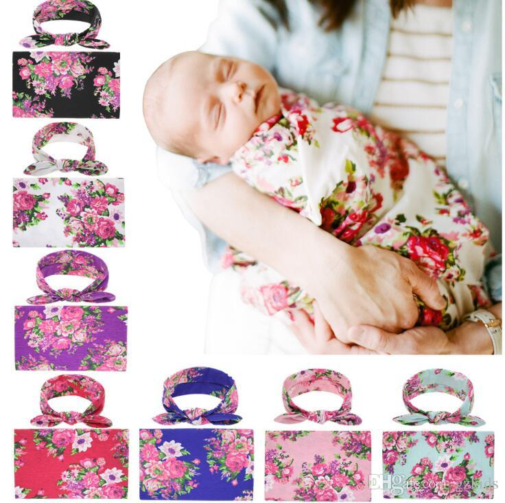Rose Floral Swaddle With hair Bow headband Nursery Baby Blanket Travel Gif tSleeper Newborn Wrap free shipping