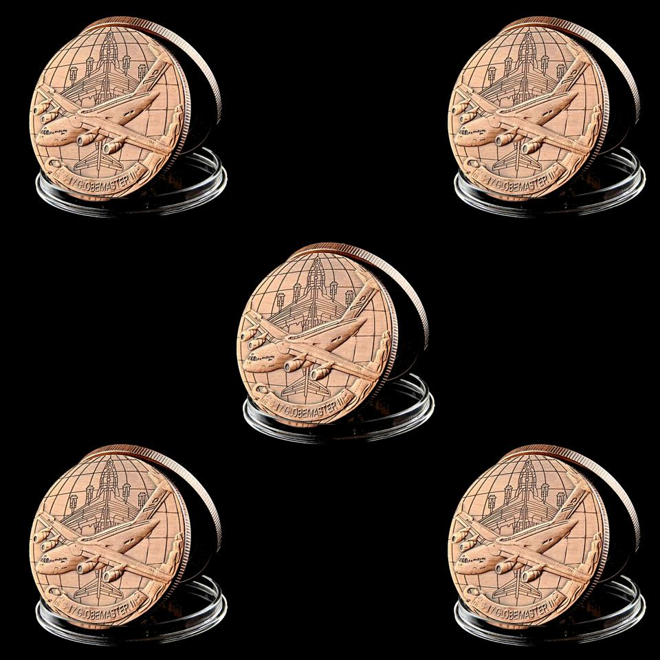 5pcs Challenge Coin Excellence In All We Do US Air Force C-17 Globemaster II Copper Plated Souvenir Coin Craft