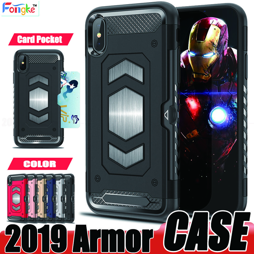 Armor Case For iPhone 7 8 6s 6s Plus X XS MAX XR Samsung Galaxy S9 S8 Plus Note 9 8 J7 Card Pocket Cell Phone cases With Magnetic Car Mount