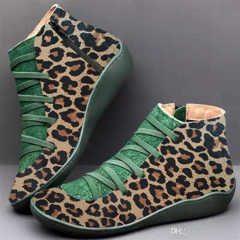 Women's PU Leather Ankle Boots Women Leopard Autumn Winter Cross Strappy Vintage Women Punk Boots Flat Ladies Shoes Woman Botas