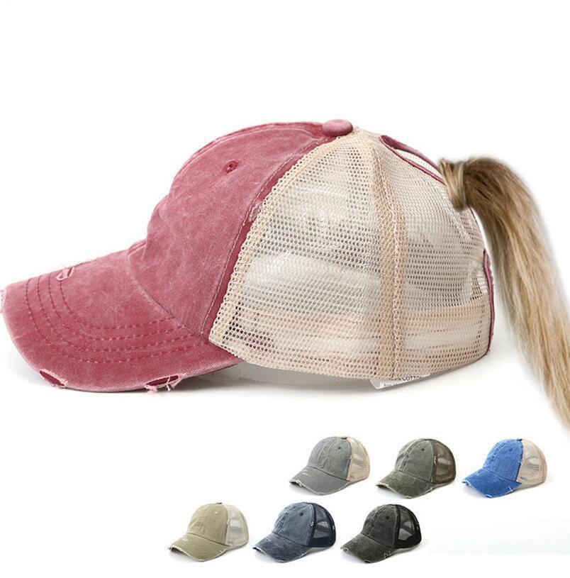 Твердая Бейсболка Регулируемая Denim Проблемные Trucker Snapback хвостик Hat Зонт моющийся Hat колпачок 7 цветов LJJK2033