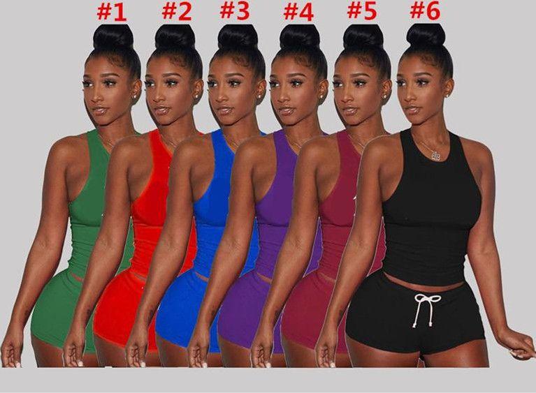 Письмо печати Женщины Outfit Мода Дизайн Tracksuit с коротким рукавом жилет Танки + Шорты 2 шт Набор Bodycon футболки Спортивная одежда Костюм