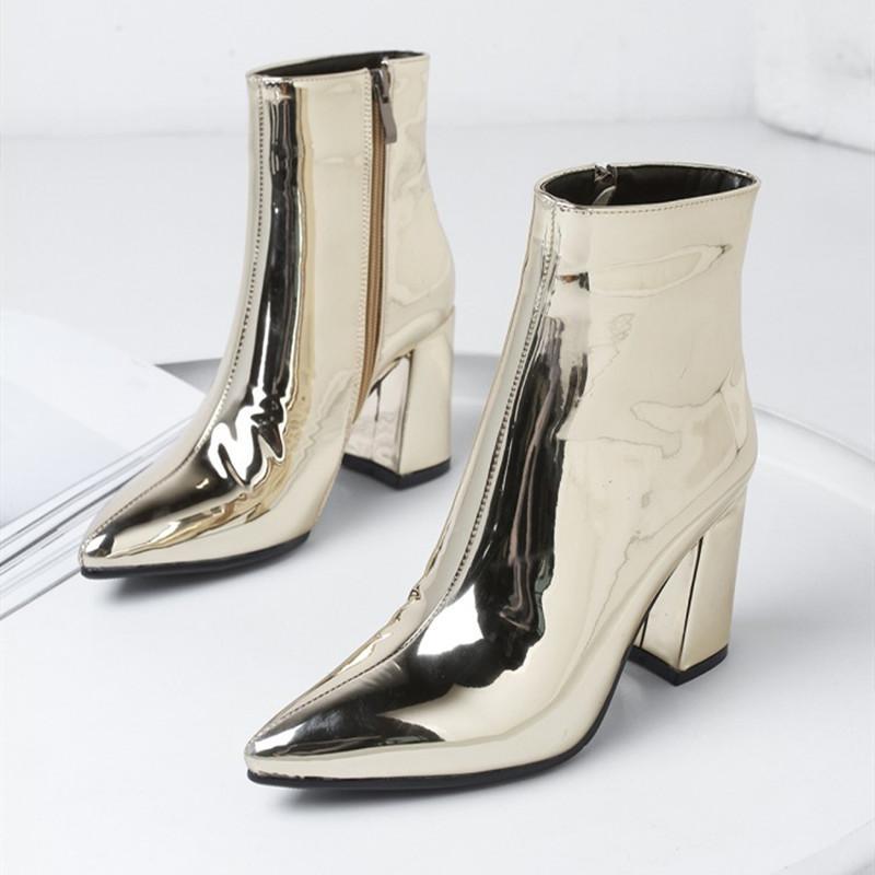 AGODOR Sliver ouro Mulheres Botas Pointed Toe Chunky High Heel Botas Espelho Metallic Mulheres Bombas sexy da fêmea do partido