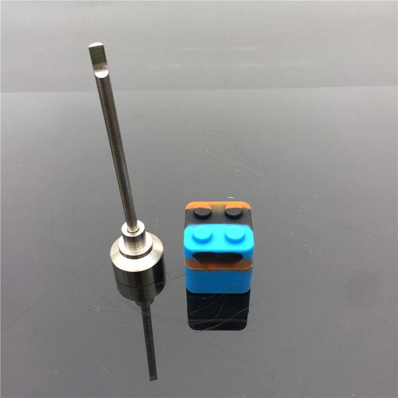 돔 레스 티타늄 네일 14/18mm 티타늄 카빈 캡, 나사산 핸들이 달린 담배 담배 및 실리콘 보울이있는 각진 구멍 1 개