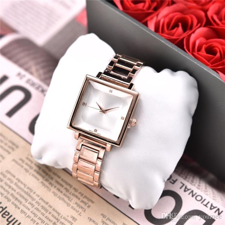 광장 높은 패션 여성 시계 스테인레스 스틸 럭셔리 여성 최고 품질 Stianless 스틸 매력적인 선물 Relogio 남성 드롭 배송