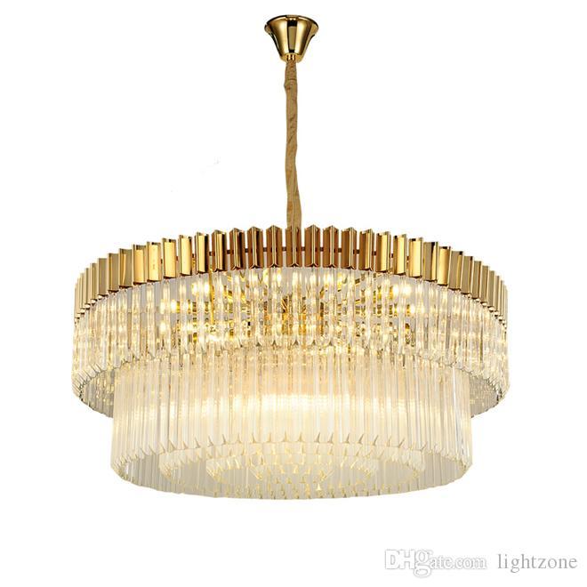 현대 라운드 크리스탈 샹들리에 조명 골드 럭셔리 펜던트 샹들리에 조명 거실 침실 높이 조절은 교수형 램프 주도