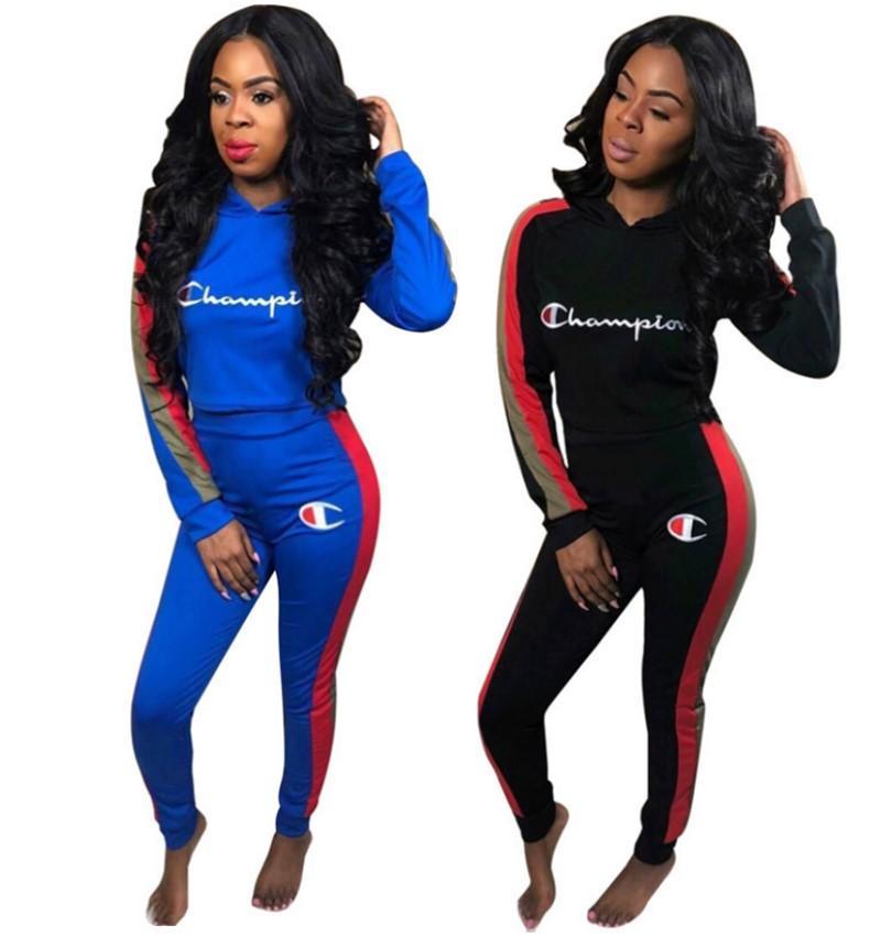 Além disso Campeões tamanho marca atleta terno Mulheres Sweatsuit 2 pedaço definido hoodies encapuzados + calças casuais carta roupas caem agasalho de inverno 2513