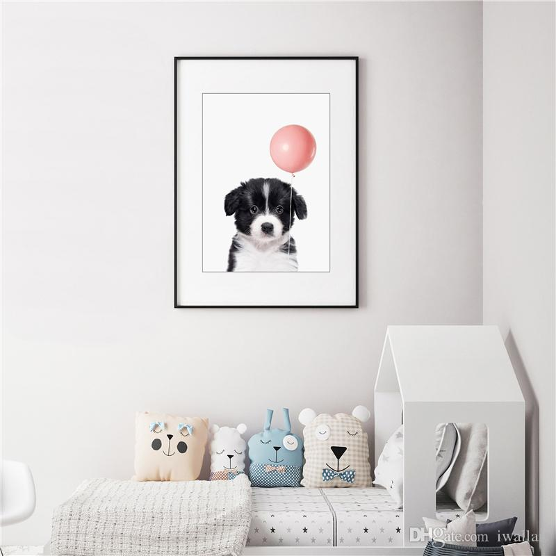 The White and Black Dog Is Pulling A Pink Balloon Minimalist Canvas Painting HD Wall Picture Poster And Print Decorative Home Decor
