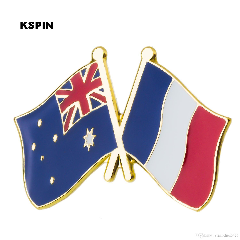 호주 프랑스 우표 플래그 핀 금속 배지 배지 아이콘 가방 장식 단추 브로치 옷 XY0273-1