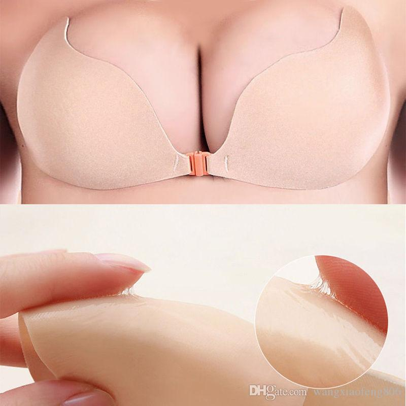 Stick silicone Bra autoadesive su gel spinge verso l'invisibile Backless senza bretelle Bras adesivo sexy senza giunte delle donne Reggiseno push-up