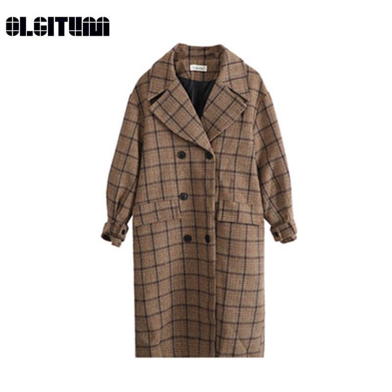 Yeni 2018 Sonbahar ve Kış Büyük Boy Kadın Uzun Yün Coat Büyük Boy Kadın Gevşek Tartan Ceket
