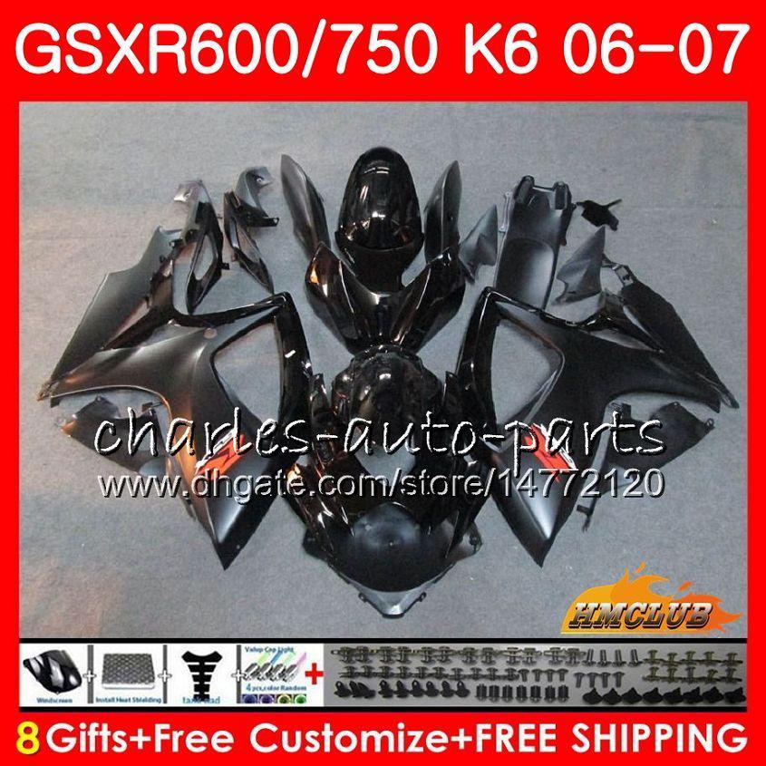 시체 Suzuki GSX R600 GSX R750 스톡 블랙 GSXR600 2006 2007 8HC.21 GSX-R600 GSXR-750 K6 GSXR 600 750 06-07 GSXR750 06 07 페어링 키트