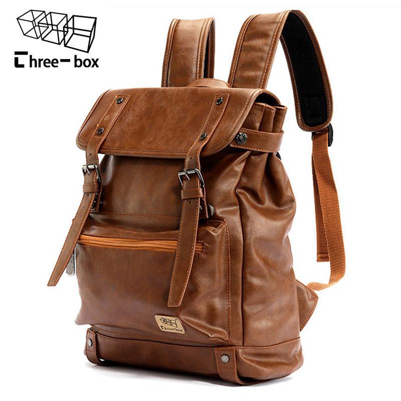 Three box Brand Leather Men Backpack Women Korean Backpack Male Travel Casual Daypacks For Teenagers Back Pack Bagpack MochilaMX190903