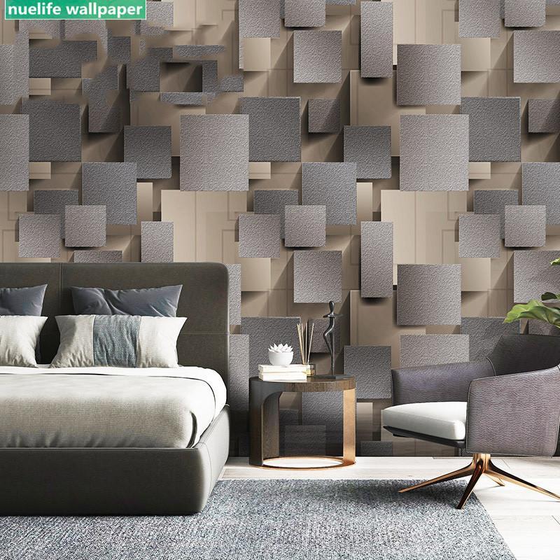 3d green gray square plaid deer velvet wallpaper