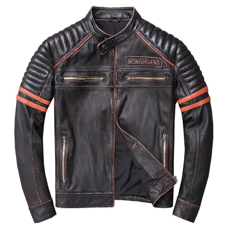 2019 خمر أسود الرجال قصيرة الجماجم دراجة نارية سترة جلدية زائد الحجم xxxl حقيقي جلد البقر الربيع يتأهل معطف شحن مجاني