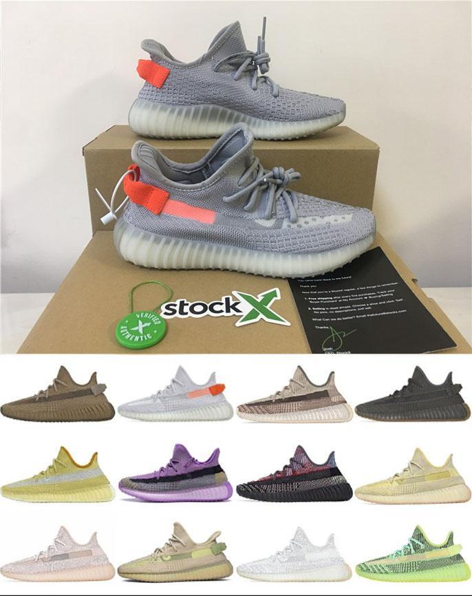 2020 zapatos corrientes de cola de tamaño ligero lino Kanye West Zebra Negro estático reflectante para hombre de las zapatillas de deporte de lino Marsh Nueva Calidad V2 zapatillas de deporte 36-48