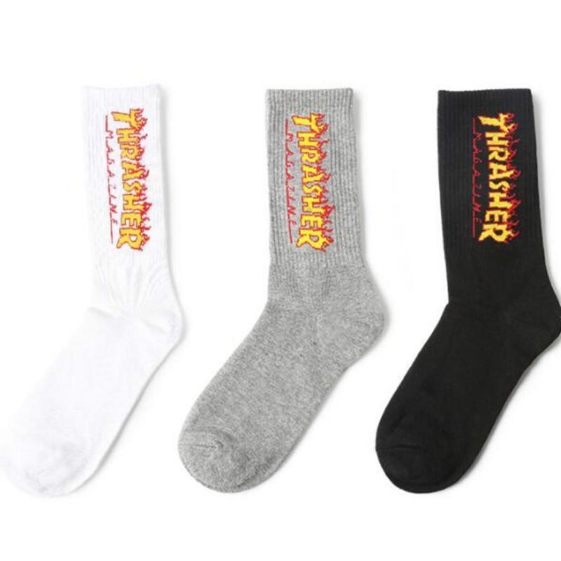 Хип-хоп носки мужчины Flame Street дизайнерские носки с буквами женщины Chaussettes активный бег баскетбол дышащий в трубке носки 2020 новый
