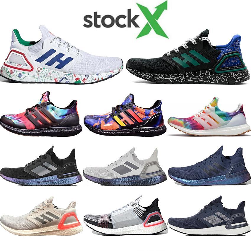 2020 Yeni Ultra Boosts'un Ayakkabı UltraBoosts 19 5.0 6.0 Metalik Mor Beyaz Kadın Tasarımcı Sneakers Running 20 Konsorsiyum Gerçek Boosts'un Mens