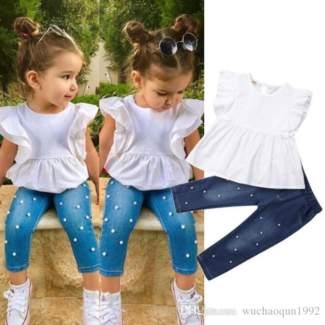 Wholesale kids designer clothes girls White Cotton Shirt Top with Ruffle-sleeve+Pearl Denim Pant 2pcs set baby girl designer clothes BY1391