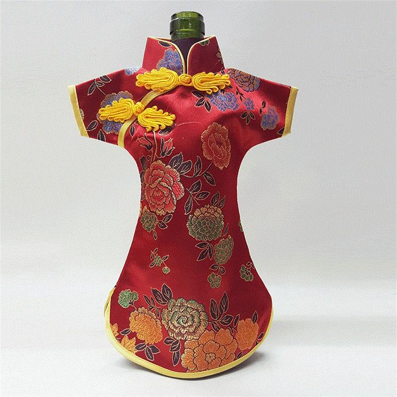 Retro Chinese Silk Brocade Wine Bottle Cover Creative Home Party Table Decoration Pouch Ethnic Craftchampagne Packaging Bags 7 5lh Y