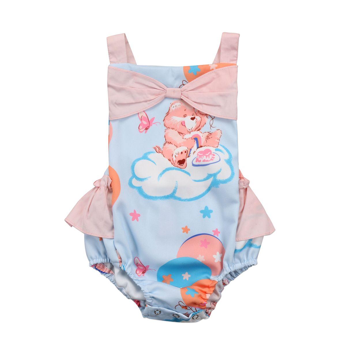 Nuovo sleeveless infantile Cartoon Orso fototecnica ragazza dei vestiti Orso Bowkont pagliaccetto tuta del bambino del cotone