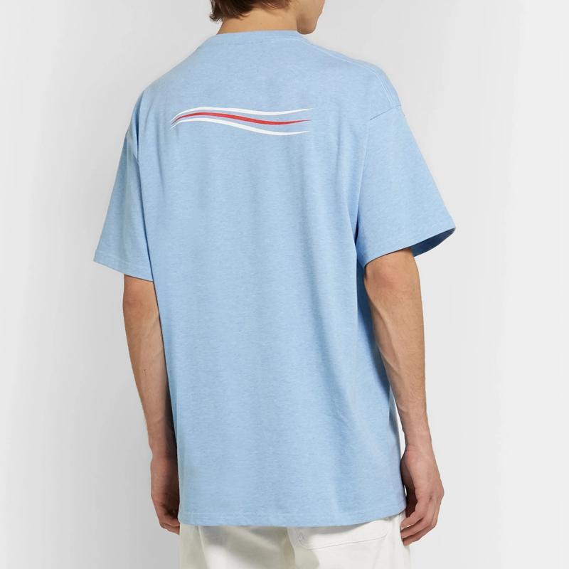 20SS Katı Renkli Logo Dalga Tee Klasik Logo Letter Basit Tişört Casual Erkekler Kadınlar High Street Kısa Kollu Yaz Tee HFYMTX661 yazdır