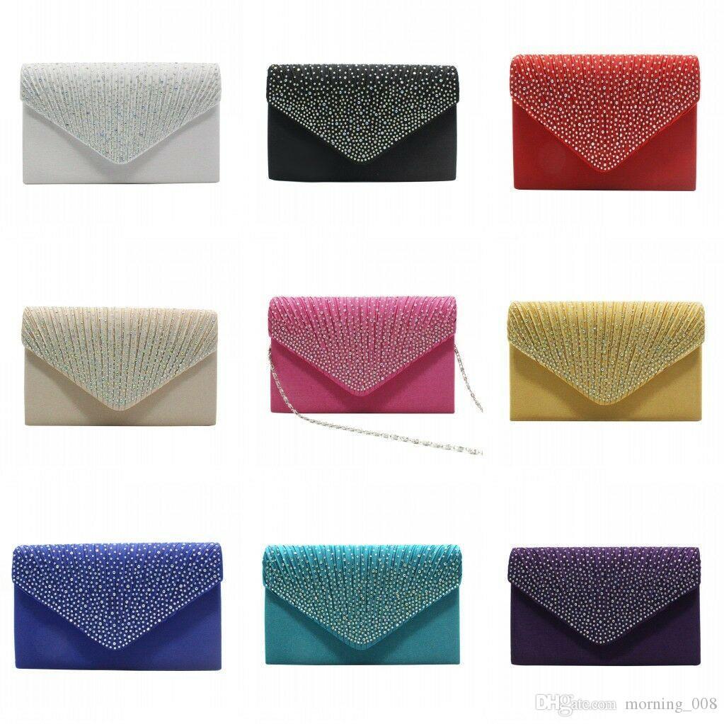 Women Sparkly Crystal Evening Clutch Satin Fold Cosmetic Bag Wedding Bridesmaid Fashion Handbag Rhinestone Shoulder Crossbody Bags Purse