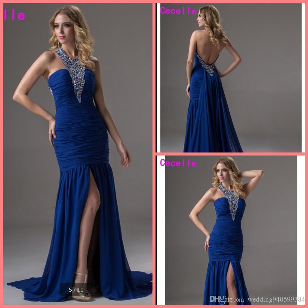 2019 Sexy sirena larga Royal Blue Vestidos de noche Vestidos para adolescentes Lentejuelas con cuentas Halter Gasa Lado Sin respaldo Fiesta de baile Vestidos de noche