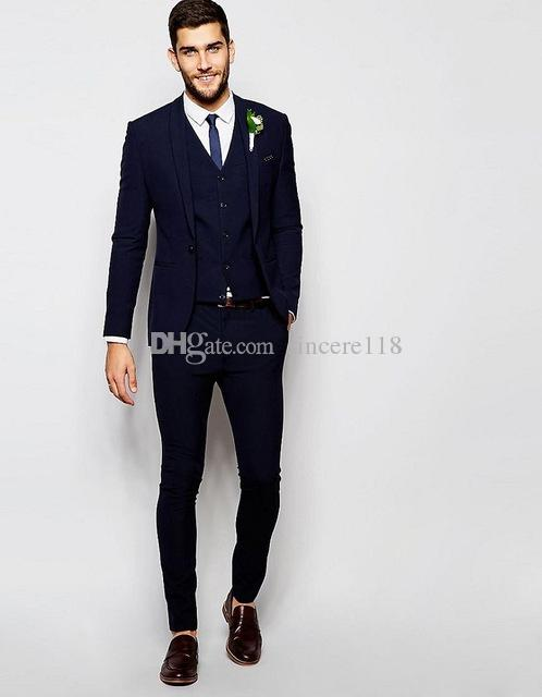 Hot Sell Slim Fits Groom Tuxedos Shawl Lapel Mens Coat Prom Blazers Business Suits (Jacket+Pants+Vest+Tie) W:026