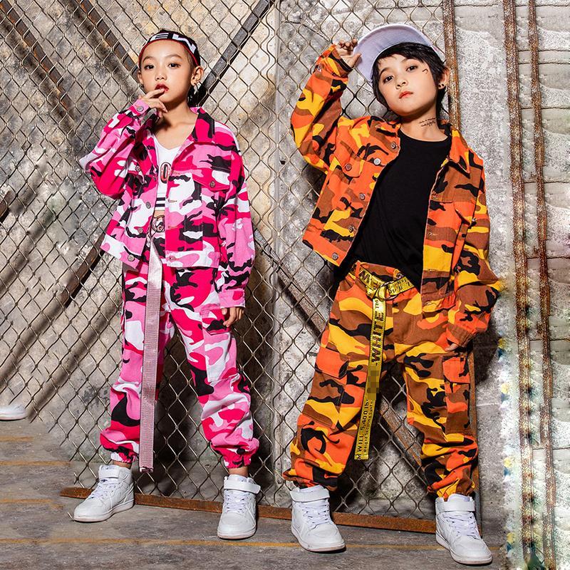 Erkek Sokak Giyim Göster DN2591 Dans Çocuk Pembe Turuncu Kamuflaj Ceket Pantolonlar için Hip Hop Kostüm Kızlar Caz Dans Kostümleri