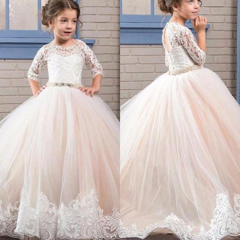 Glitz Puffy Kids Abschlussfeier Kommunion Kleider 2019 Halbarm Lange Pageant Ballkleid Blumenmädchen Kleid