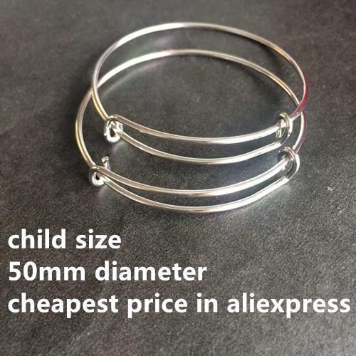 (50pcs) de alta calidad de 50 mm niños del tamaño de acero pulseras brazalete ajustable de alambre expandible