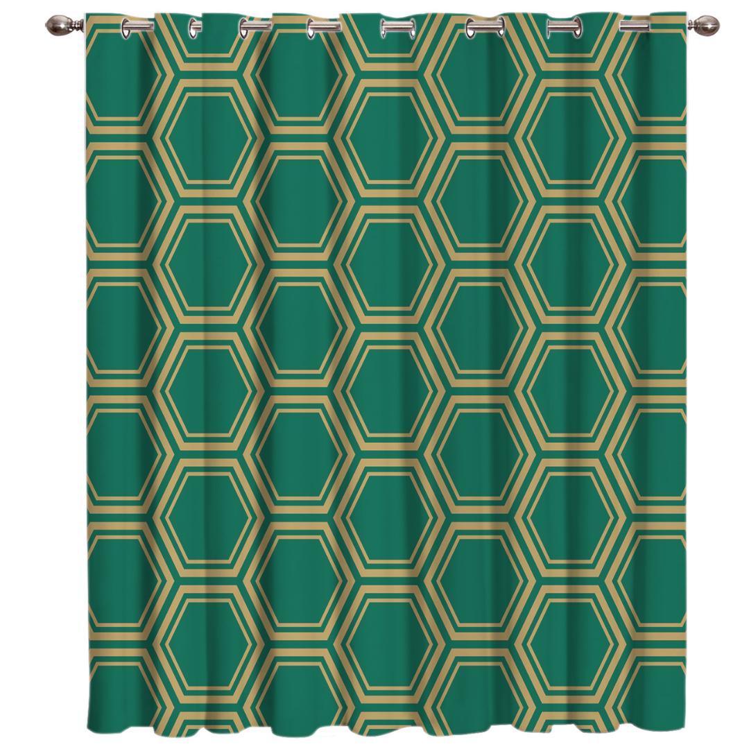 Verde Hexagonal Geometria Tratamentos da janela Cortinas Valance quarto Cortinas Grande Janela Blinds Sala Blackout