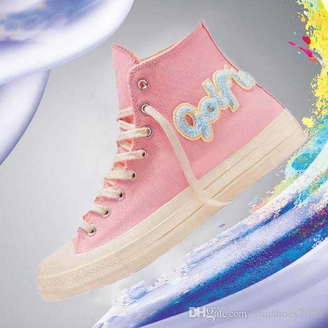 Классический Golf Le Fleur х Chuck 70 Chenille Новые женщины Star Skateborad обувь Мода GLF 1970 High Pink Canvas Sneaker Размер 36-44