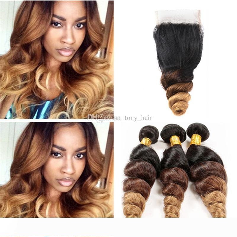 Dark Roots Brown Honey Blonde Ombre Closure and Bundles Three Tone 1B 4 27 Ombre Loose Wave Hair Weaves with Lace Closure
