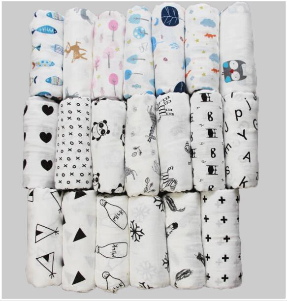 INS Newborn Baby Blankets Cotton+BAMBOO FIBER Cartoon Animal Baby Swaddle Blankets Infant Baby Bath Towels Wraps Double-Layer 120*120cm 24pc