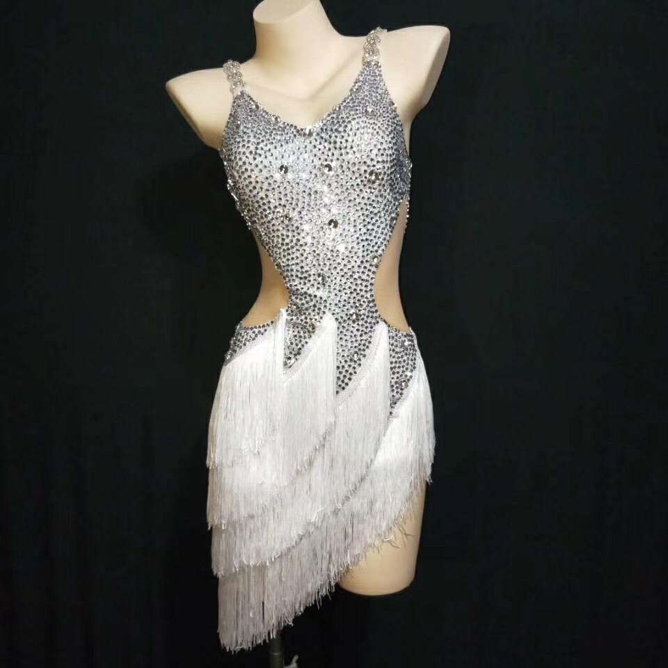 Femelle Singe Franges De Strass Robe De Danse Latine Costumes Anniversaire De Fête Célébrez La Robe Blanche Argentée Personnalisez La Taille DT947