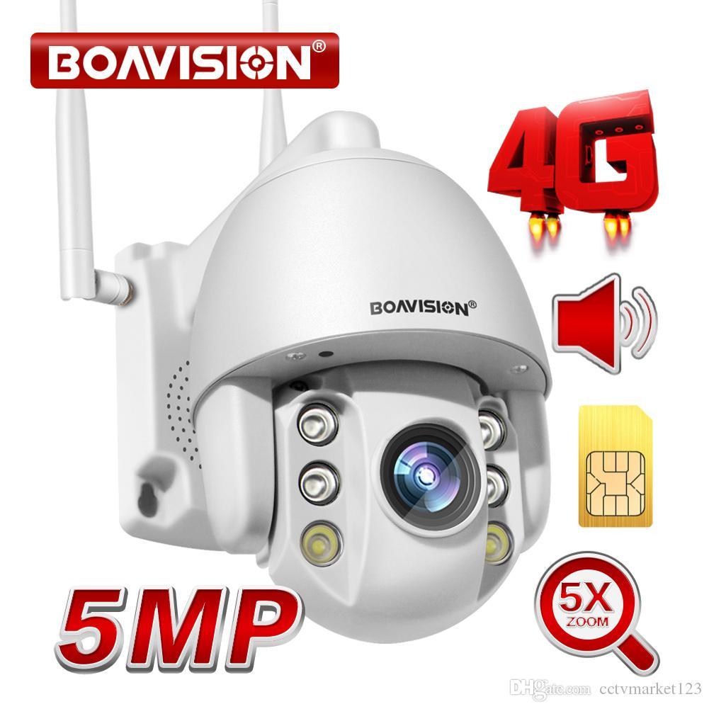 2MP Carte SIM 4G sans fil Mini caméra dôme PTZ 1080P 5MP extérieure 5X Zoom / 4 mm fixe l'objectif à deux voies Caméra de sécurité CCTV Audio