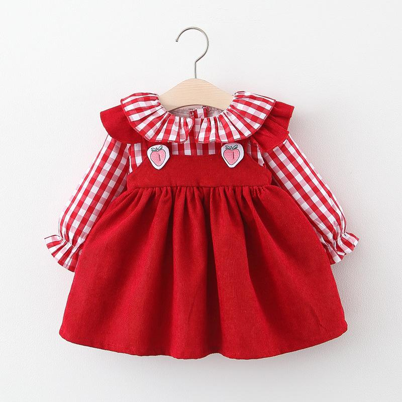 Infant Baby Dresses 2020 Children Autumn New Kids Plaid Princess Dresses Baby Girls Strawberry Ruffled Collar Long-sleeved Dress