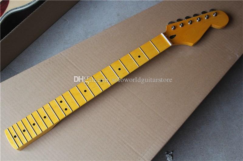 6 سلاسل الأصفر القيقب الرقبة الكهربائية الغيتار الرقبة مع كروم المستقبلون، القيقب الأصابع يمكن أن تكون مخصصة حسب الطلب