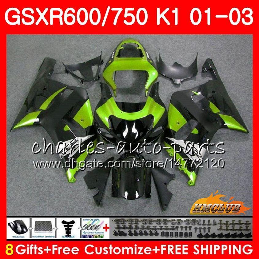 8Gifts 바디 스즈키 GSXR 600 750 GSXR600 2001 2002 2003 4HC.77 GSX R750 GSXR600 GSXR750 K1 GSXR750 01 02 03 녹색 블랙 핫 페어링 키트