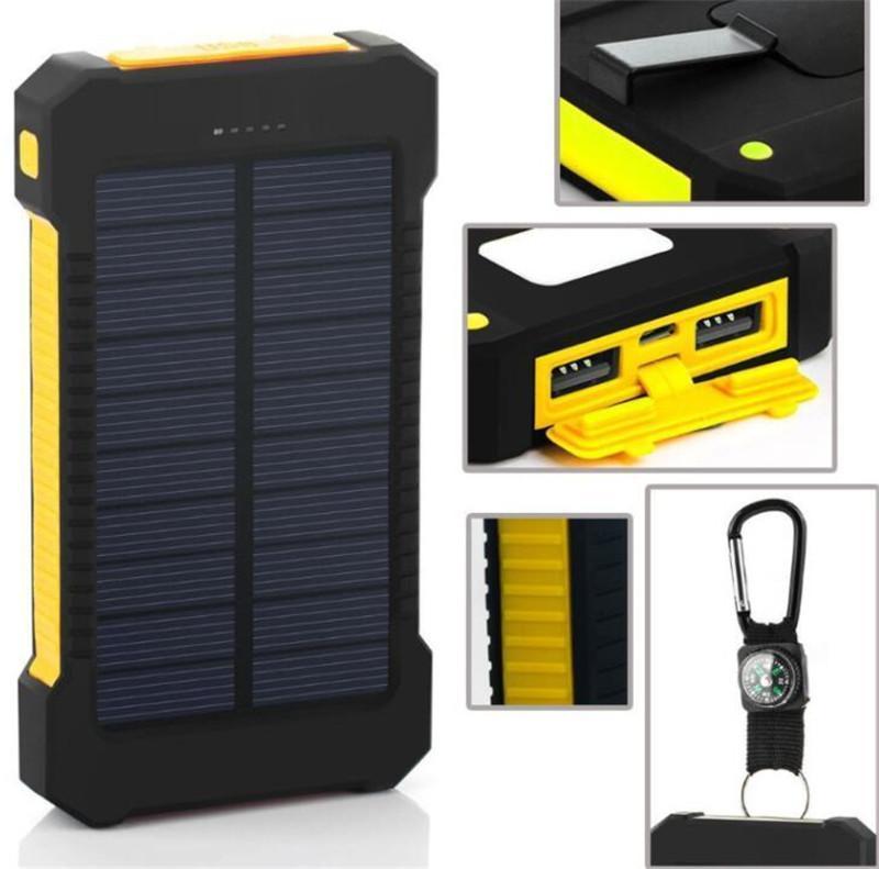 20000 мАч солнечной энергии банк зарядное устройство со светодиодным фонариком компас кемпинг лампа двойной головкой батарея панель водонепроницаемый открытый зарядка бесплатная доставка