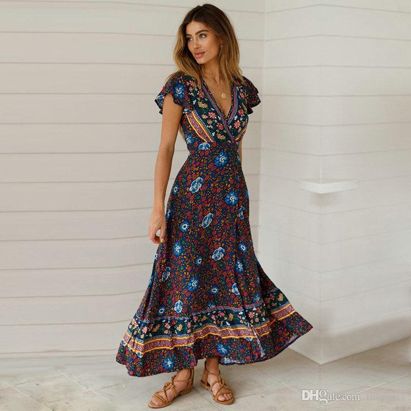 L'Europe et les États-Unis dames portent au printemps 2019 la nouvelle robe Bohemian pendule adah pendule v-cou station balnéaire avec robe imprimée