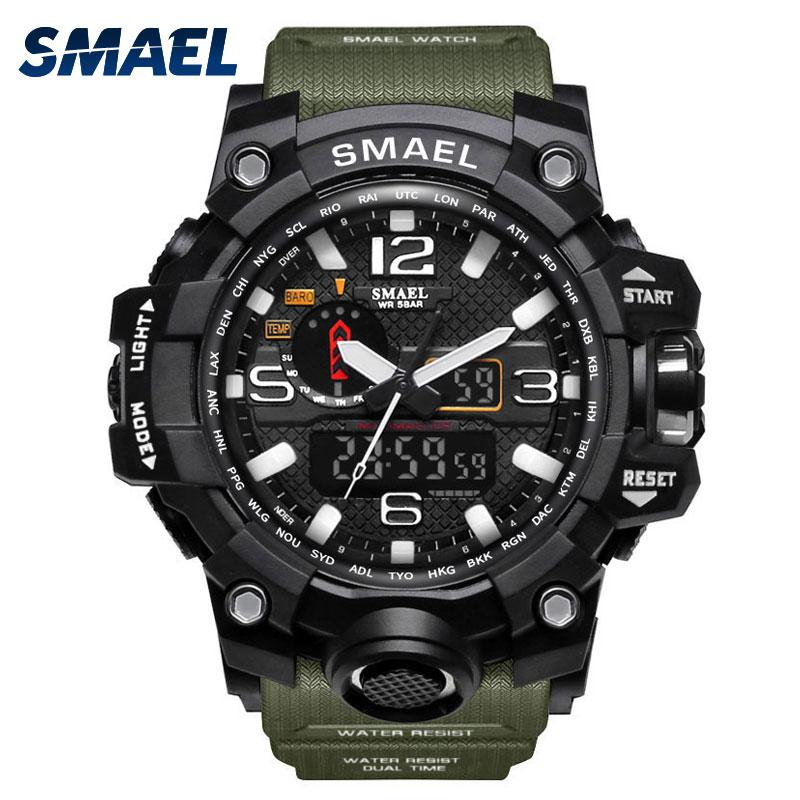 SMAEL Sport Watches for Men Waterproof Digital Watch LED Men's Wristwatch Clock Man 1545 montre homme Big Men Watches