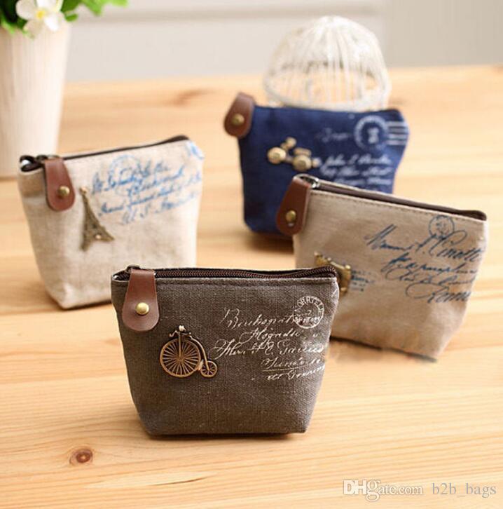 clés sac pièce de toile de femmes porte-monnaie porte-monnaie organisateur porte-poche Porte-monnaie rétro Coin Portable Mini Porte-monnaie Sacs à monnaie Zip