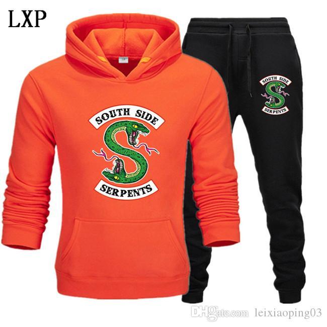 I nuovi uomini della tuta con cappuccio Due pezzi + pantaloni autunno / inverno Riverdale magliette felpate Suit Maschio da jogging tute EL-12